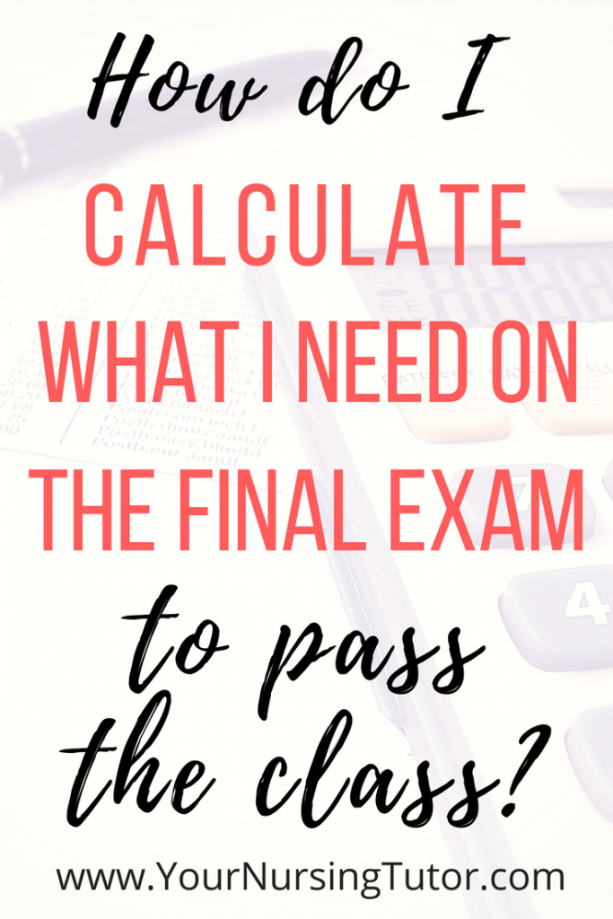 Even though you only need basic math to calculate the final exam grade needed to pass your nursing class, it can still seem complicated when you're working with multiple assignments and weighted percentages. Here's a step-by-step formula for how to manually calculate your class grade.